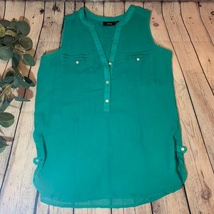 Turquoise Sleeveless Sheer Top